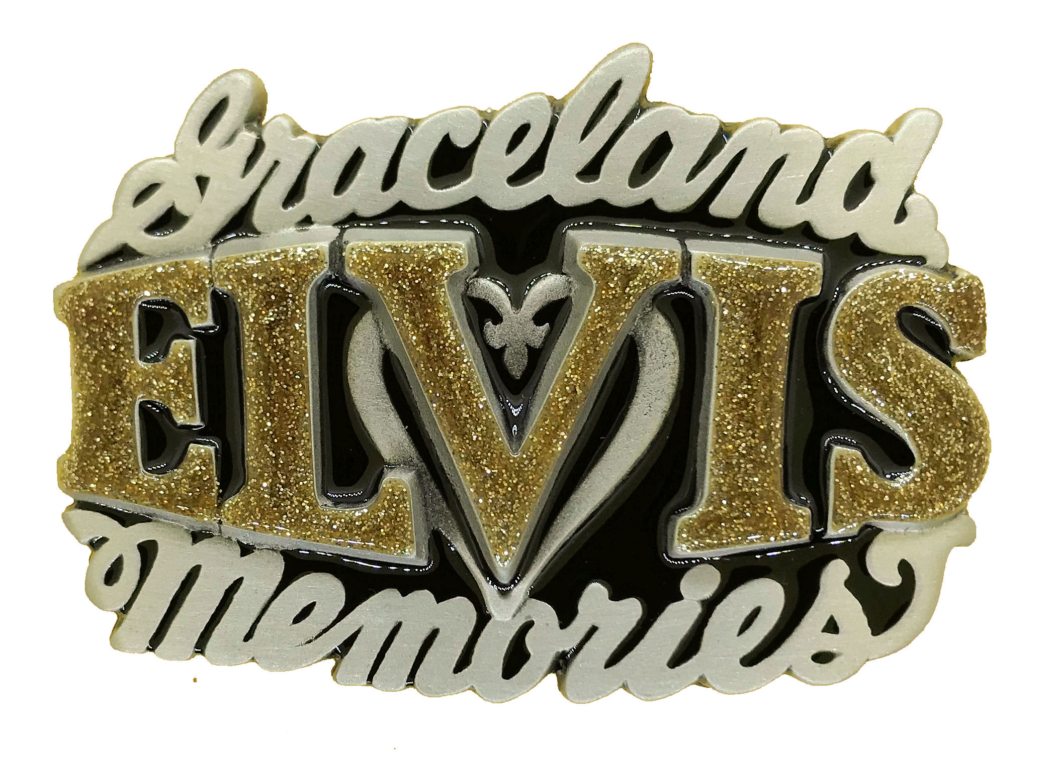 Elvis Memories Black & Gold Glitter